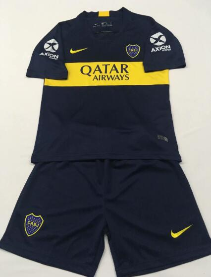 Boca Juniors 2018/19 Home Kids Soccer Jersey Kit Children Shirt + Shorts