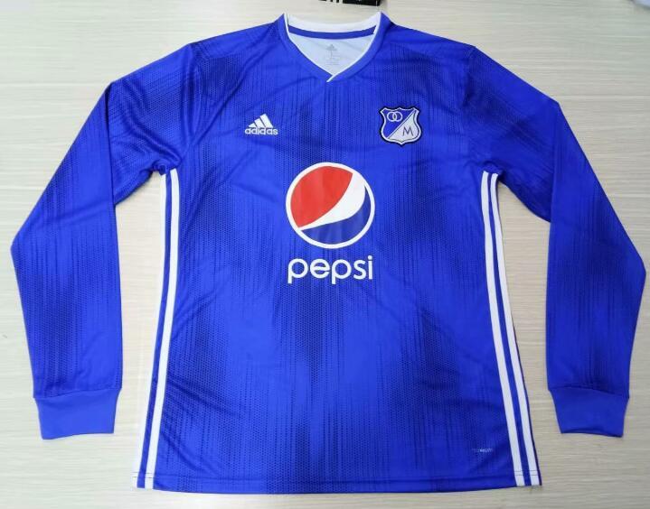 7deff3f3af9 Millonarios FC Bogota 2019 20 Home Long Sleeved Shirt Soccer Jersey