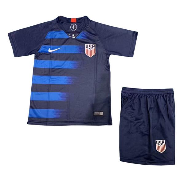 USA 2018/19 Away Kids Soccer Jersey Kit Children Shirt + Shorts
