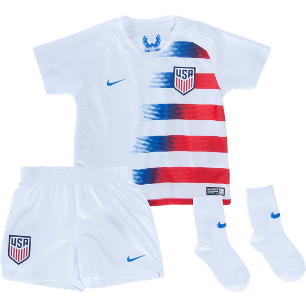 USA 2018/19 Home Kids Soccer Jersey Kit Children Shirt + Shorts + Socks