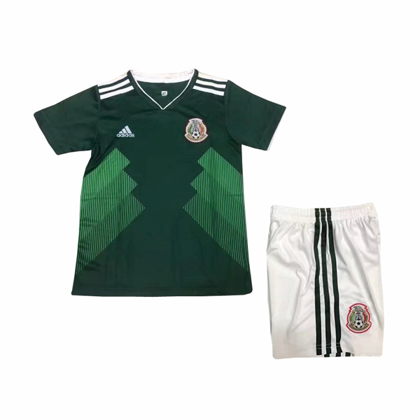 Mexico 2018 FIFA World Cup Home Kids Soccer Kit Children Shirt And Shorts