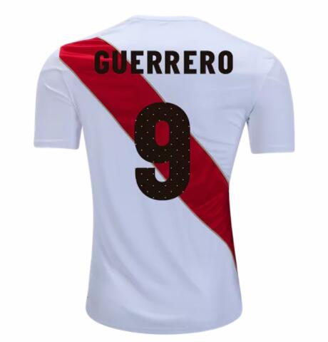 Peru 2018 World Cup Home Paolo Guerrero #9 Shirt Soccer Jersey