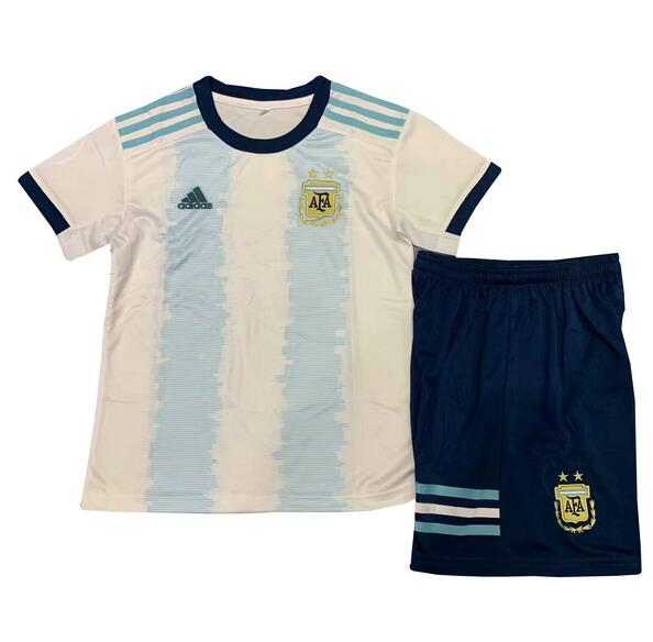 Argentina 2019 Copa America Home Children Soccer Kit Shirt And Shorts