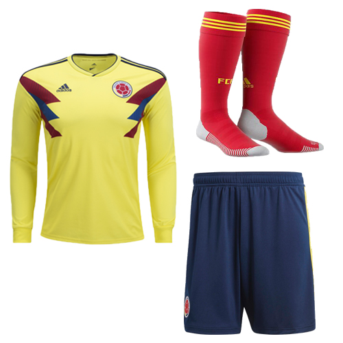 Colombia 2018 World Cup Home Long Sleeve Soccer Jersey Kits (Shirt+Shorts+Socks)
