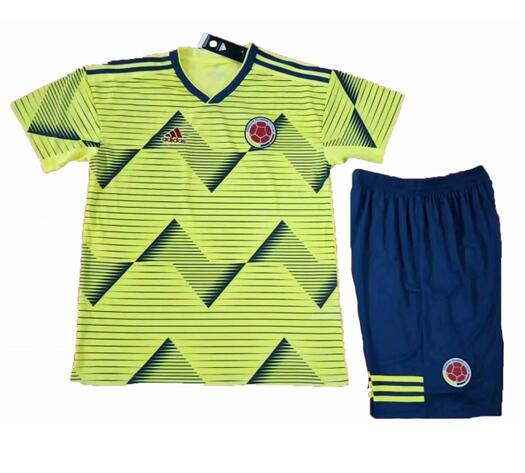 Colombia 2019 Copa America Home Children Soccer Kit Shirt And Shorts