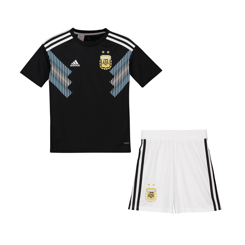cab4918b660 Argentina 2018 FIFA World Cup Away Kids Soccer Kit Children Shirt And Shorts