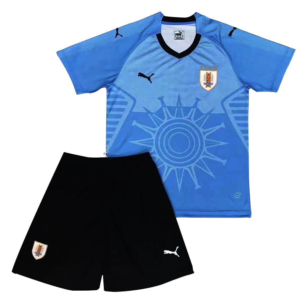 Uruguay 2018 FIFA World Cup Home Kids Soccer Kit Children Shirt And Shorts