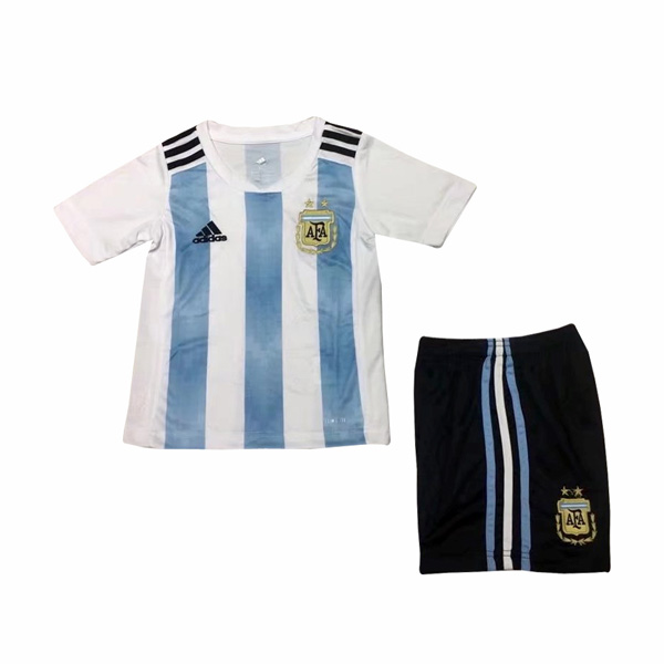 Argentina 2018 FIFA World Cup Home Kids Soccer Kit Children Shirt And Shorts