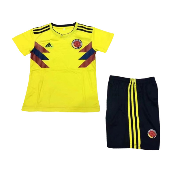Colombia 2018 World Cup Home Kids Soccer Kit Children Shirt And Shorts