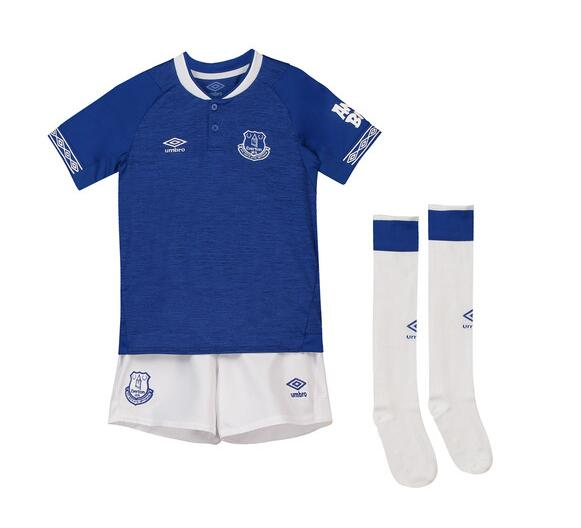 Everton 2018/19 Home Kids Soccer Whole Kit Children Shirt + Shorts + Socks