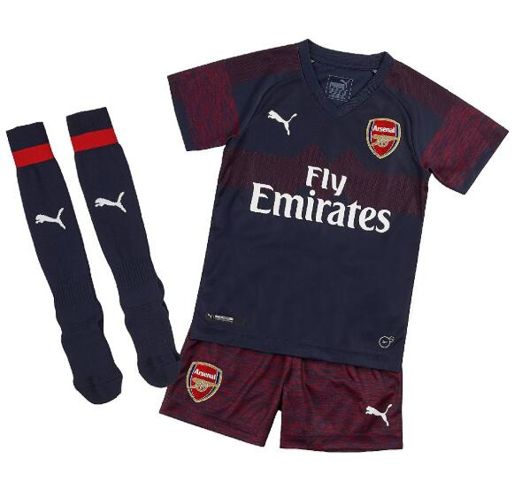 Arsenal 2018/19 Away Kids Soccer Jersey Kit Children Shirt + Shorts + Socks