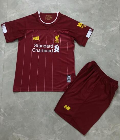 b35e9c71c15 Liverpool 2019 2020 Home Kids Soccer Jersey Kit Children Shirt + Shorts