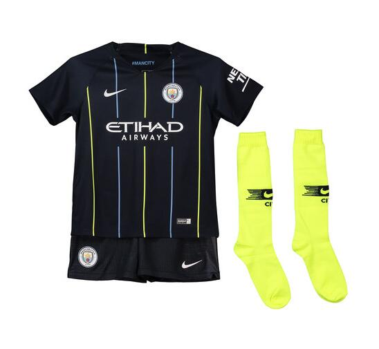 9ffc4b7cf2c Manchester City 2018 19 Away Kids Soccer Jersey Whole Kit Children Shirt +  Shorts +