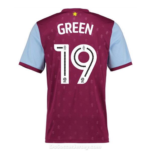 Aston Villa 2017/18 Home Green #19 Shirt Soccer Jersey