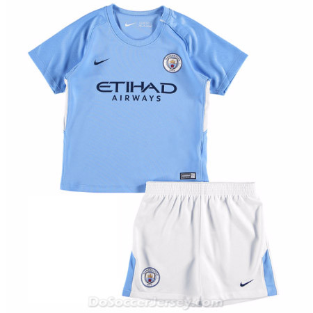 Manchester City 2017/18 Home Kids Soccer Kit Children Shirt And Shorts