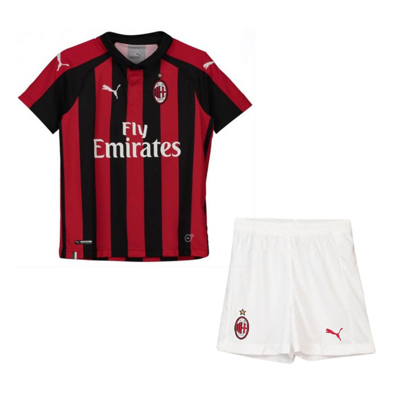 AC Milan 2018/19 Home Kids Soccer Jersey Kit Children Shirt + Shorts