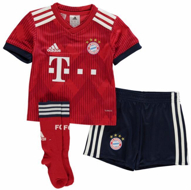 Bayern Munich 2018 19 Home Kids Soccer Whole Kit Children Jersey + Shorts +  Socks d47ccc757
