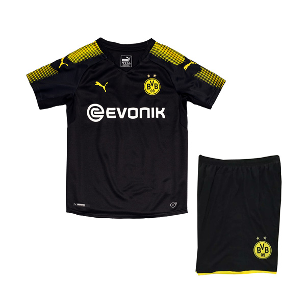 Borussia Dortmund 2017/18 Away Kids Soccer Kit Children Shirt And Shorts