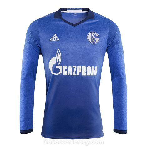 FC Schalke 04 2017/18 Home Long Sleeved Shirt Soccer Jersey