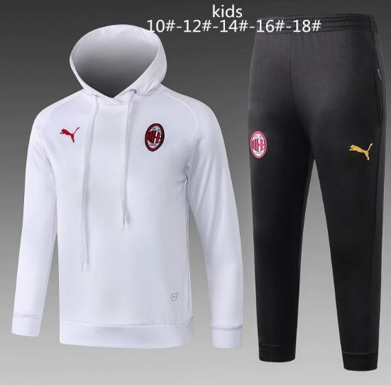 Kids AC Milan 2018/19 White Training Suit (Hoodie Sweatshirt+Pants)