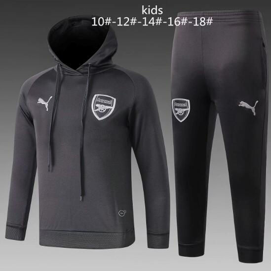 Kids Arsenal 2018/19 Grey Training Suit (Hoodie Sweatshirt+Pants)
