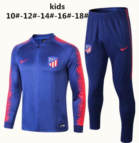 Kids Atletico Madrid 2018/19 Blue Stripe Training Suit (Jacket+Pants)