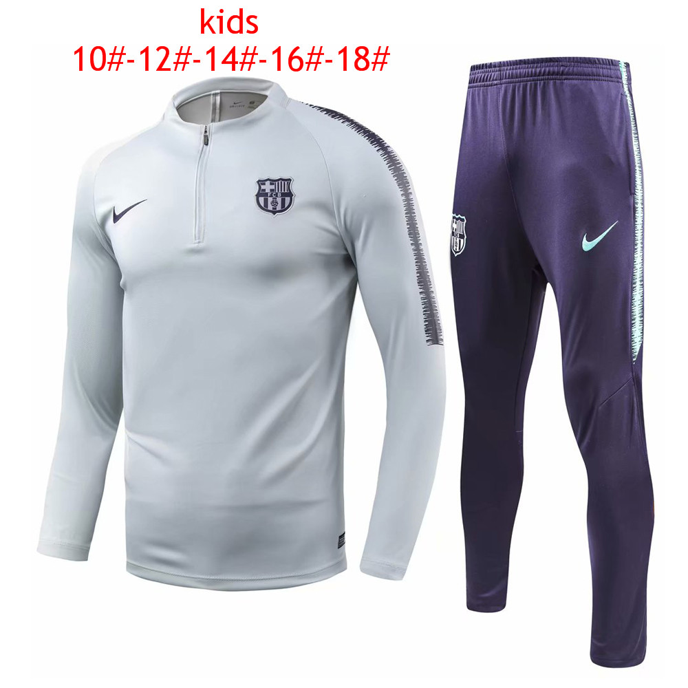 Kids Barcelona 2018/19 Light Grey Training Suit