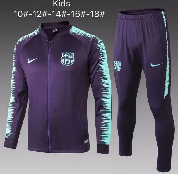 Kids Barcelona 2018/19 Purple Stripe Jacket + Pants Training Suit