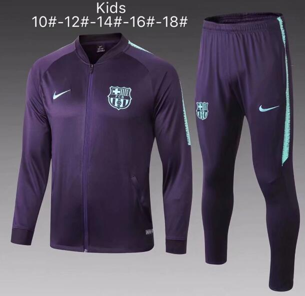 Kids Barcelona 2018/19 Purple Jacket + Pants Training Suit