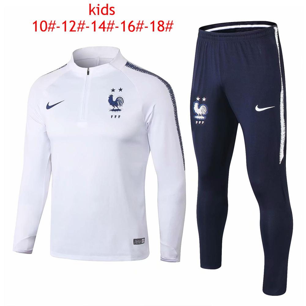 8d1344d8714 Kids France FIFA World Cup 2018 Zipper White Training Suit 2-Star