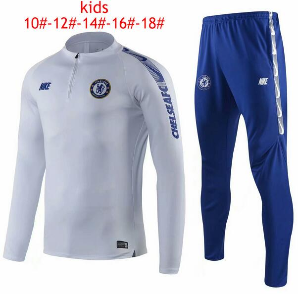 Kids Chelsea 2019/2020 White Training Suit (Sweatshirt+Pants)