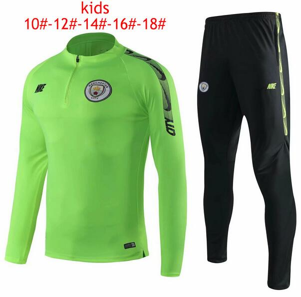 Kids Manchester City 2019/2020 Green Training Suit (Sweatshirt+Pants)