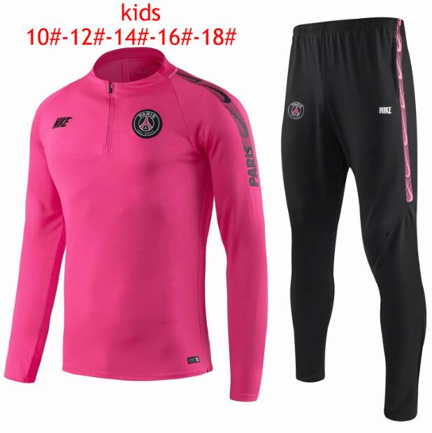 Kids PSG 2019/2020 Pink Training Suit (Sweatshirt+Pants)