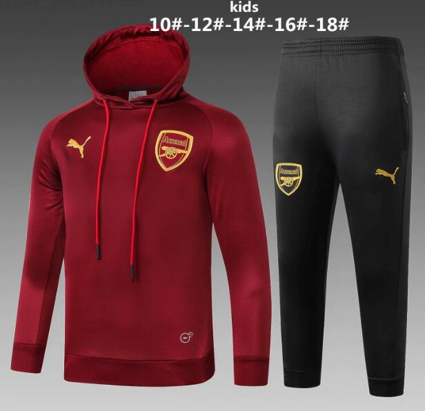 Kids Arsenal 2018/19 Burgundy Training Suit (Hoodie Sweatshirt+Pants)