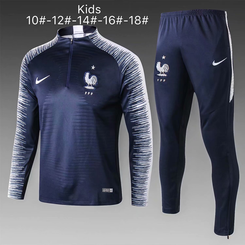 356459ad9a9 Kids France FIFA World Cup 2018 Blue Stripe Zipper Training Suit