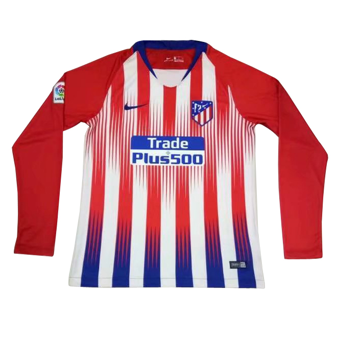 Atletico Madrid 2018/19 Home Long Sleeve Shirt Soccer Jersey