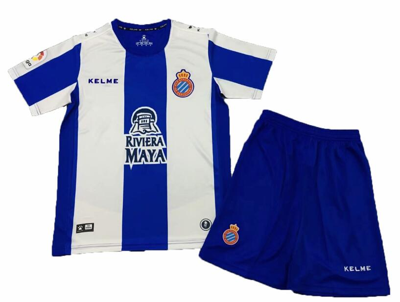 RCD Espanyol 2018/19 Home Kids Soccer Jersey Kit Children Shirt + Shorts