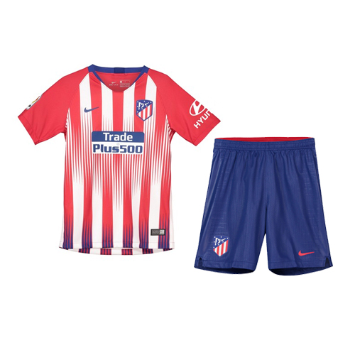 82ccd0ba7b9 Atletico Madrid 2018 19 Home Kids Soccer Jersey Kit Children Shirt + Shorts