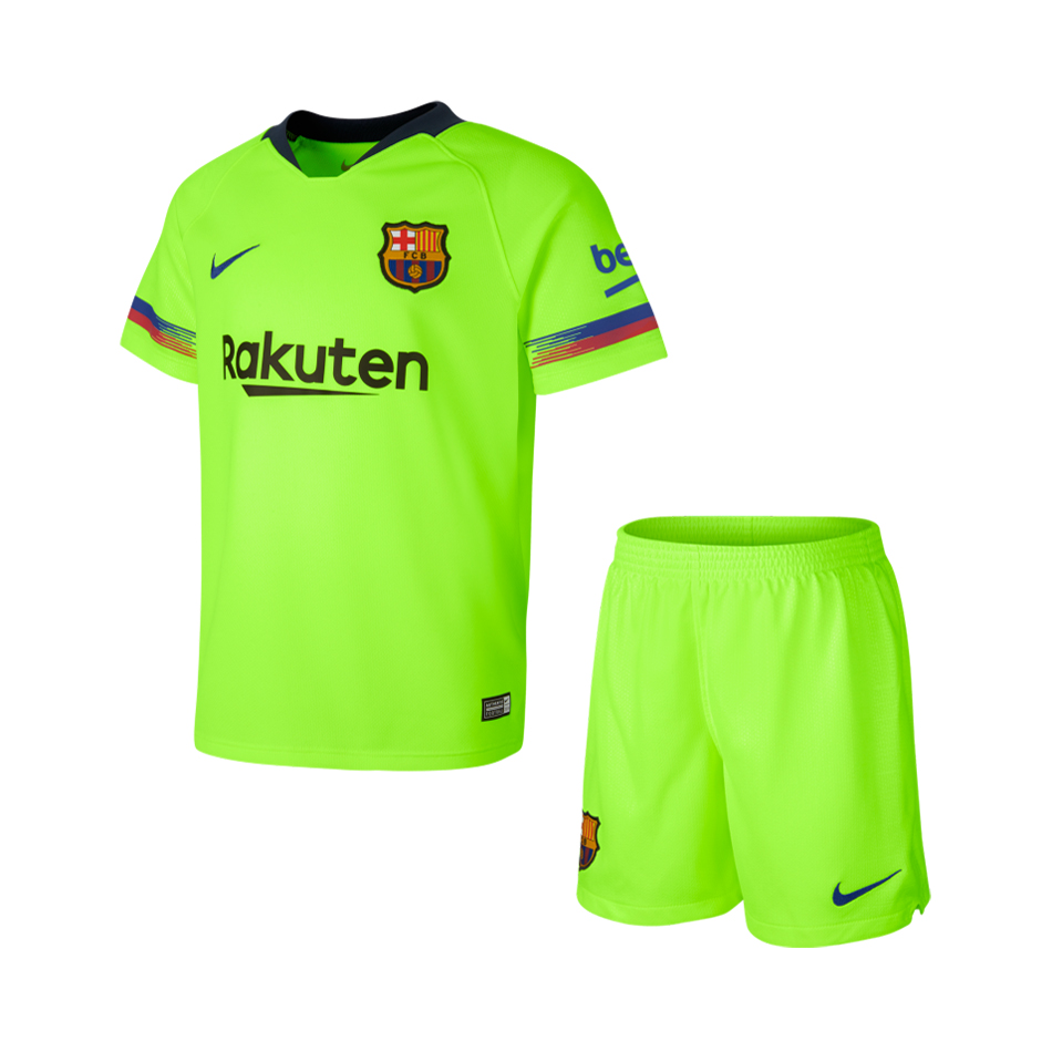 Barcelona 2018/19 Away Kids Soccer Jersey Kit Children Shirt + Shorts
