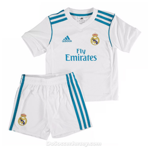 d94ba587082 Real Madrid 2017 18 Home Kids Soccer Kit Children Shirt And Shorts