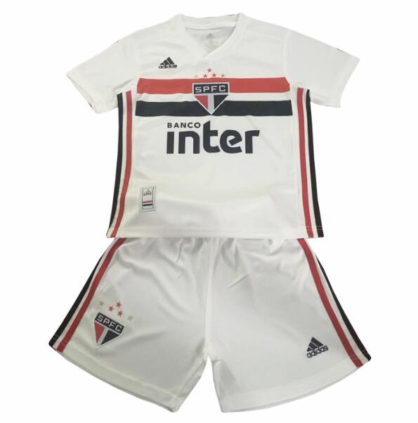 Kids Sao Paulo FC 2019/2020 Home Soccer Jersey Kits (Shirt+Shorts)
