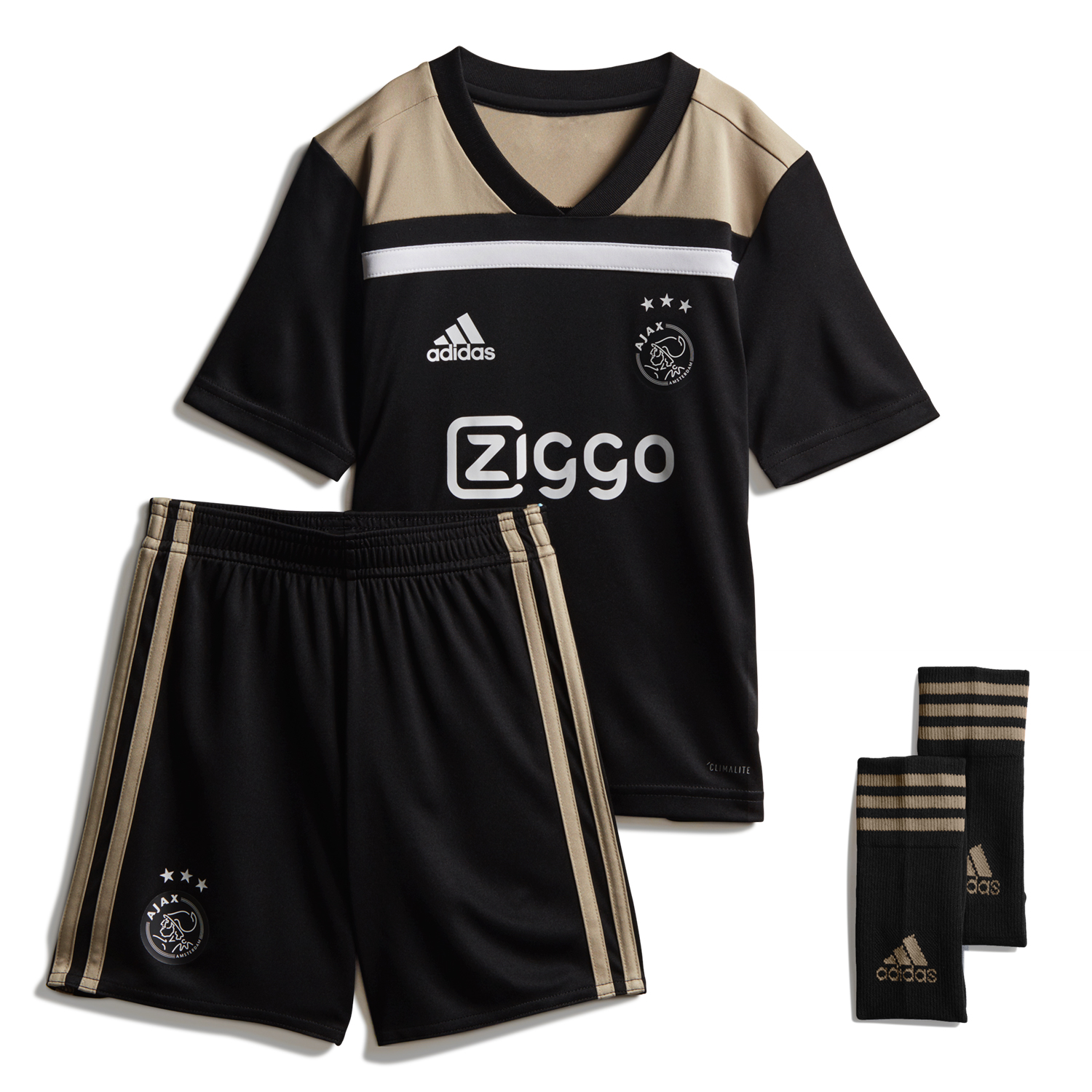 Ajax 2018/19 Away Kids Soccer Jersey Kit Children Shirt + Shorts + Socks