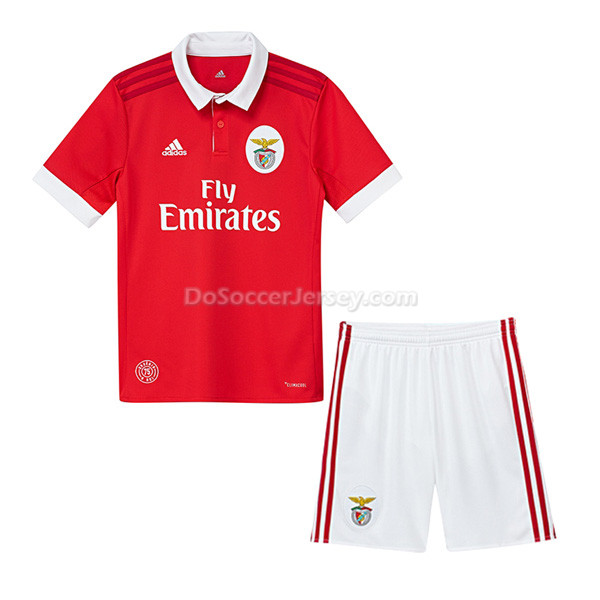 Benfica 2017/18 Home Kids Soccer Kit Children Shirt And Shorts