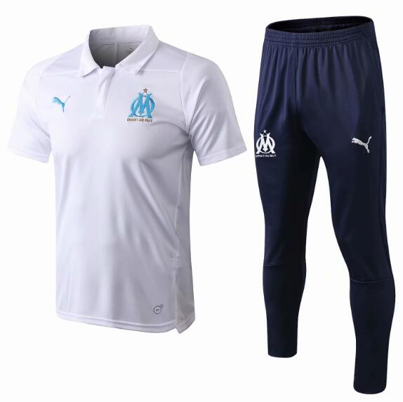 Olympique Marseille 2018/19 White Suit Polo Shirt + Pants