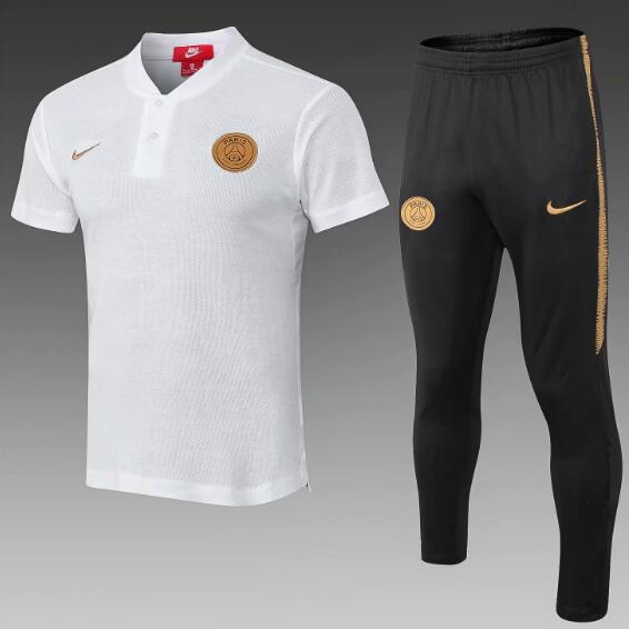 PSG 2018/19 White Gold Suit Polo Shirt + Pants
