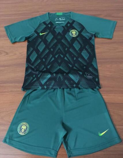 Kids Nigeria 2019 Green Pre-Match Training Kit (Shirt+Shorts)