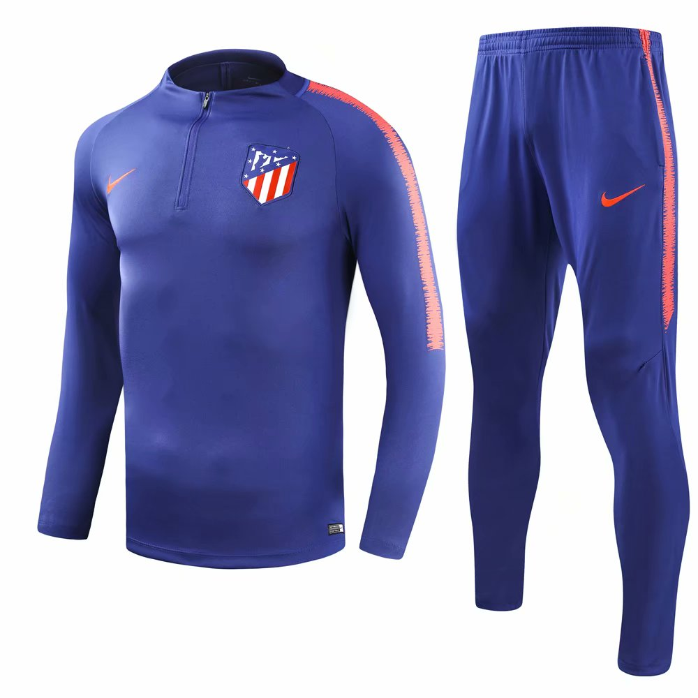 6895aba9a Atletico Madrid 2018 19 Blue Training Suit (Shirt+Trouser)