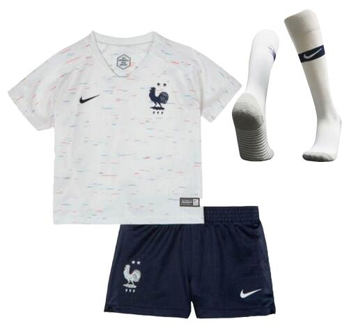 France 2 Stars 2018 World Cup Away Kids Soccer Kit Children Shirt + Shorts + Socks