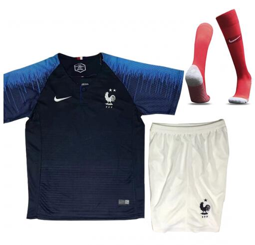 France 2 Stars 2018 World Cup Home Kids Soccer Kit Children Shirt + Shorts + Socks