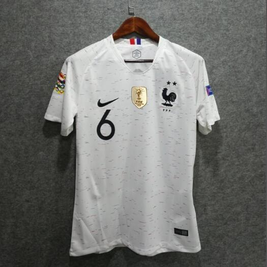 France 2-Star 2018 Euro Qualifier Away Pogba 6 Shirt Soccer Jersey With All Badges